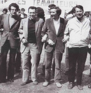 Gilbert, second from right, with from left; Alain Krivine, Michel Rocard (future French PM) and Michel Fiant